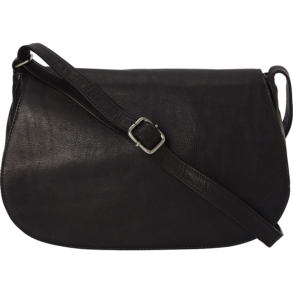 Le Donne Leather Eudora Flapover Black - Le Donne Leather Leather Handbags - Handbags, Leather Handbags