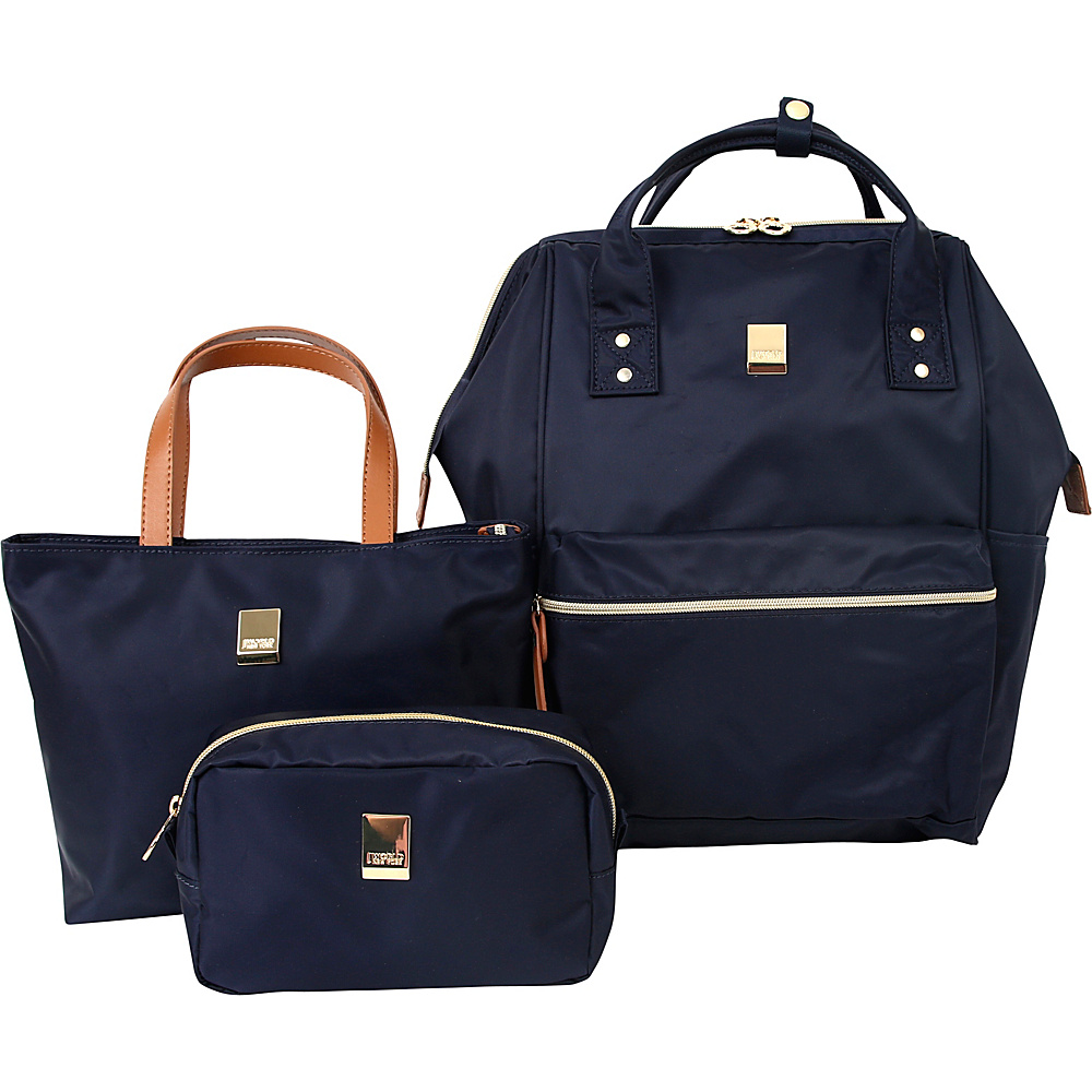J World New York Posy 3 Piece BackpackTotePouch Collection Navy - J World New York Fabric Handbags - Handbags, Fabric Handbags