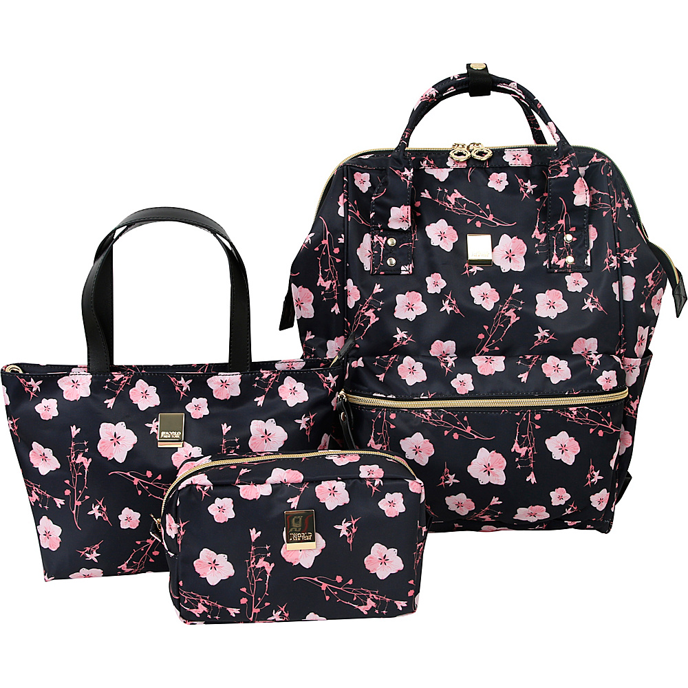 J World New York Posy 3 Piece BackpackTotePouch Collection Pink Bloom - J World New York Fabric Handbags - Handbags, Fabric Handbags