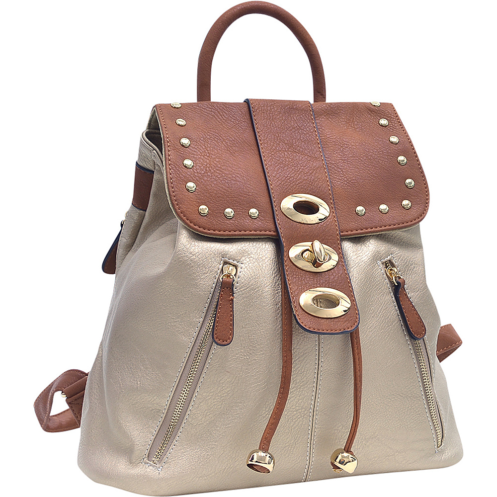 Dasein Two-Tone Studded Backpack with Drawstring Gold - Dasein Manmade Handbags - Handbags, Manmade Handbags