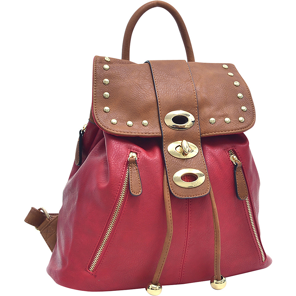 Dasein Two-Tone Studded Backpack with Drawstring Red - Dasein Manmade Handbags - Handbags, Manmade Handbags