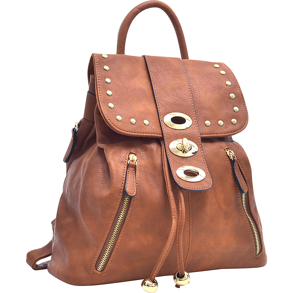 Dasein Two-Tone Studded Backpack with Drawstring Brown - Dasein Manmade Handbags - Handbags, Manmade Handbags