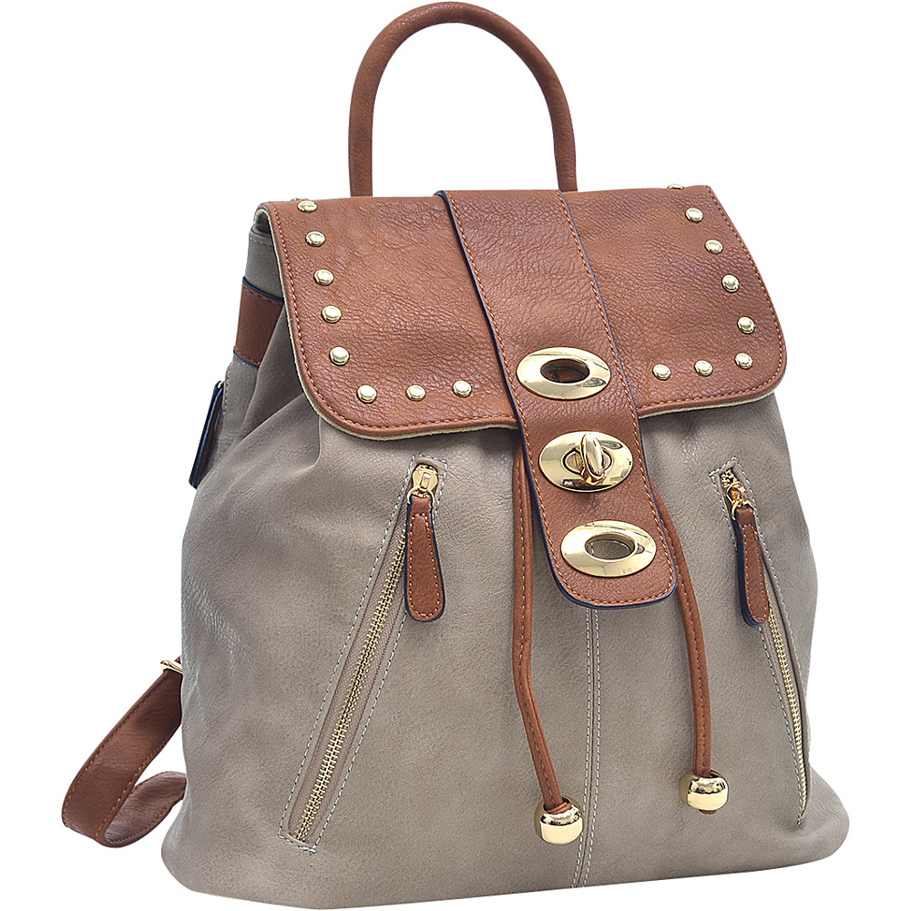 Dasein Two-Tone Studded Backpack with Drawstring Stone - Dasein Manmade Handbags - Handbags, Manmade Handbags