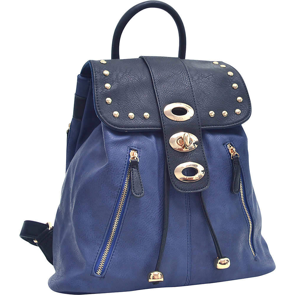 Dasein Two-Tone Studded Backpack with Drawstring Navy Blue - Dasein Manmade Handbags - Handbags, Manmade Handbags