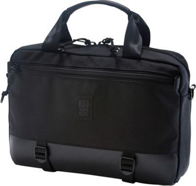 Topo Designs Commuter Briefcase Ballistic Black/Black Leather - Topo Designs Non-Wheeled Business Cases