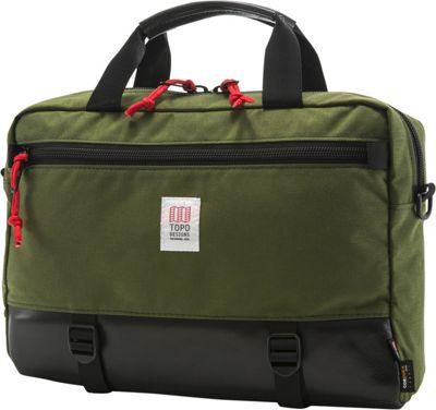 Topo Designs Commuter Briefcase Olive/Black Leather - Topo Designs Non-Wheeled Business Cases