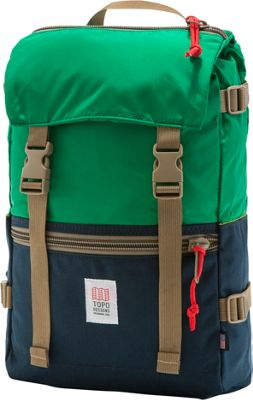 Topo Designs Rover Pack Laptop Backpack Navy/Kelly Green - Topo Designs Laptop Backpacks
