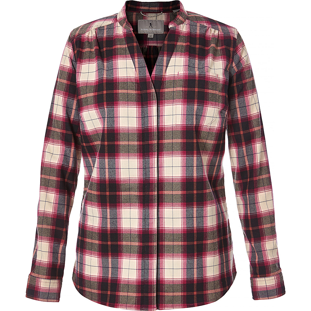 Royal Robbins Womens Merinolux Plaid Flannel S - Raspberry Crush - Royal Robbins Womens Apparel - Apparel & Footwear, Women's Apparel