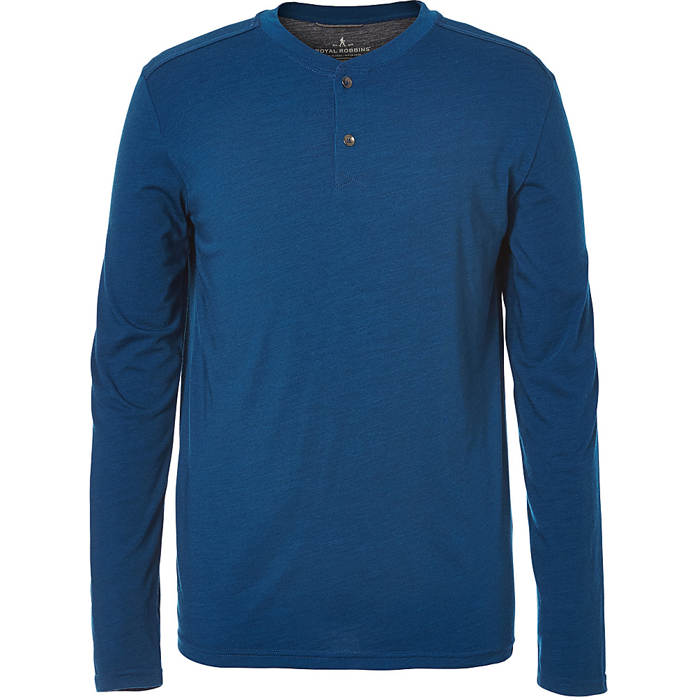 Royal Robbins Mens MerinoLux Henley M - Poseidon - Royal Robbins Mens Apparel - Apparel & Footwear, Men's Apparel