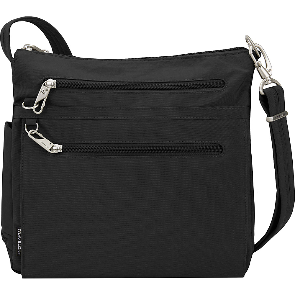 Travelon Anti-Theft Essential Crinkle North/South Crossbody Bag - Exclusive Black/Green Flower Lining - Travelon Fabric Handbags - Handbags, Fabric Handbags