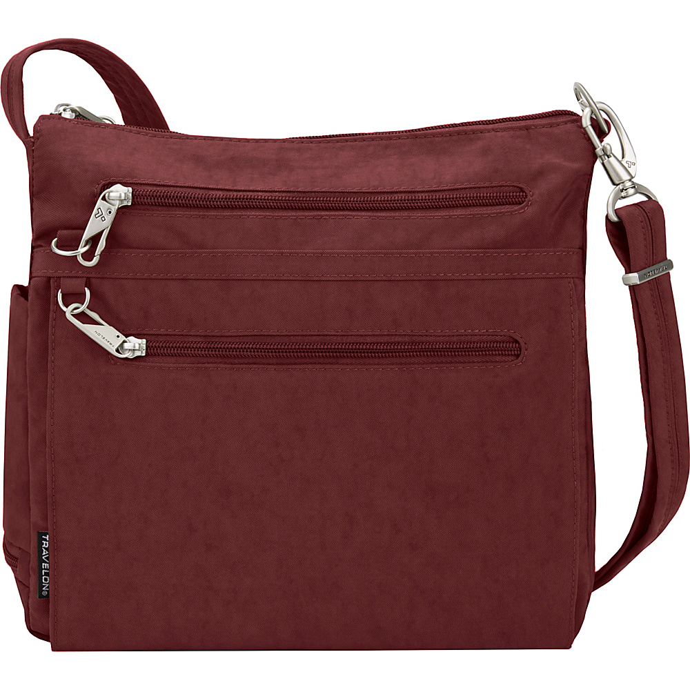 Travelon Anti-Theft Essential Crinkle North/South Crossbody Bag - Exclusive Burgundy/Black Flower Lining - Travelon Fabric Handbags - Handbags, Fabric Handbags