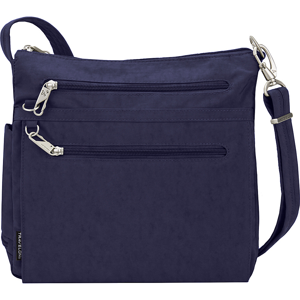 Travelon Anti-Theft Essential North/South Crossbody Bag - Exclusive Midnight/Golden Flower Lining - Travelon Fabric Handbags - Handbags, Fabric Handbags