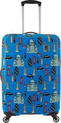 Revelation Maluku BQ Max 27 inch Expandable Hardside Checked Spinner Luggage Blue London - Revelation Large Rolling Luggage