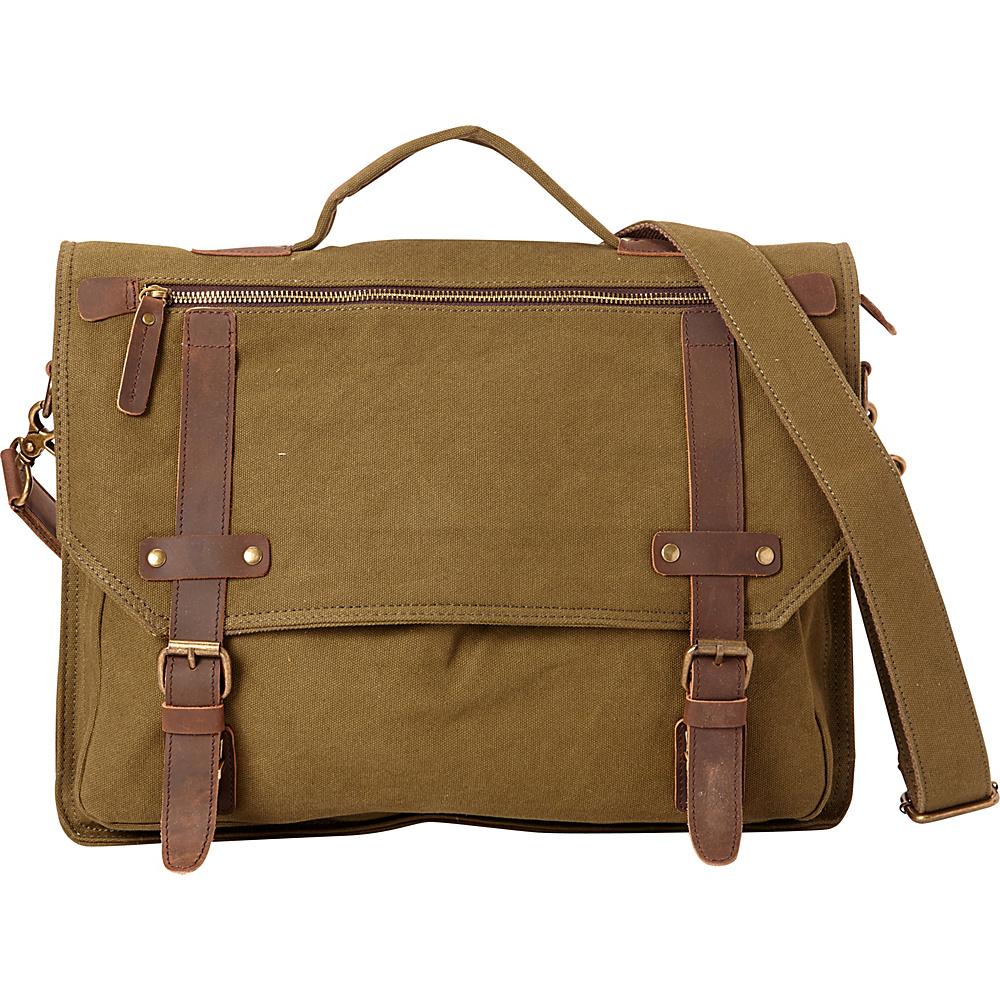 Vagabond Traveler Classic Canvas Laptop Messenger Bag Green - Vagabond Traveler Messenger Bags - Work Bags & Briefcases, Messenger Bags