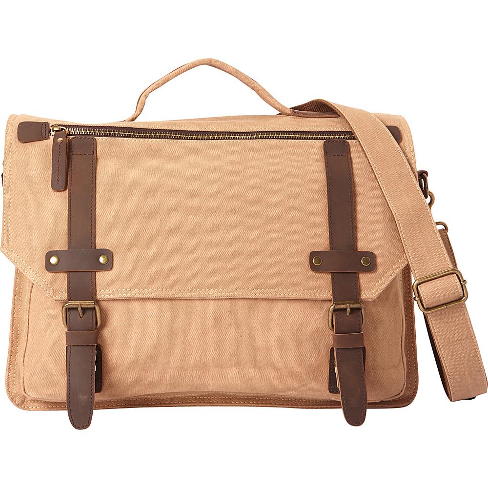 Vagabond Traveler Classic Canvas Laptop Messenger Bag Khaki - Vagabond Traveler Messenger Bags - Work Bags & Briefcases, Messenger Bags