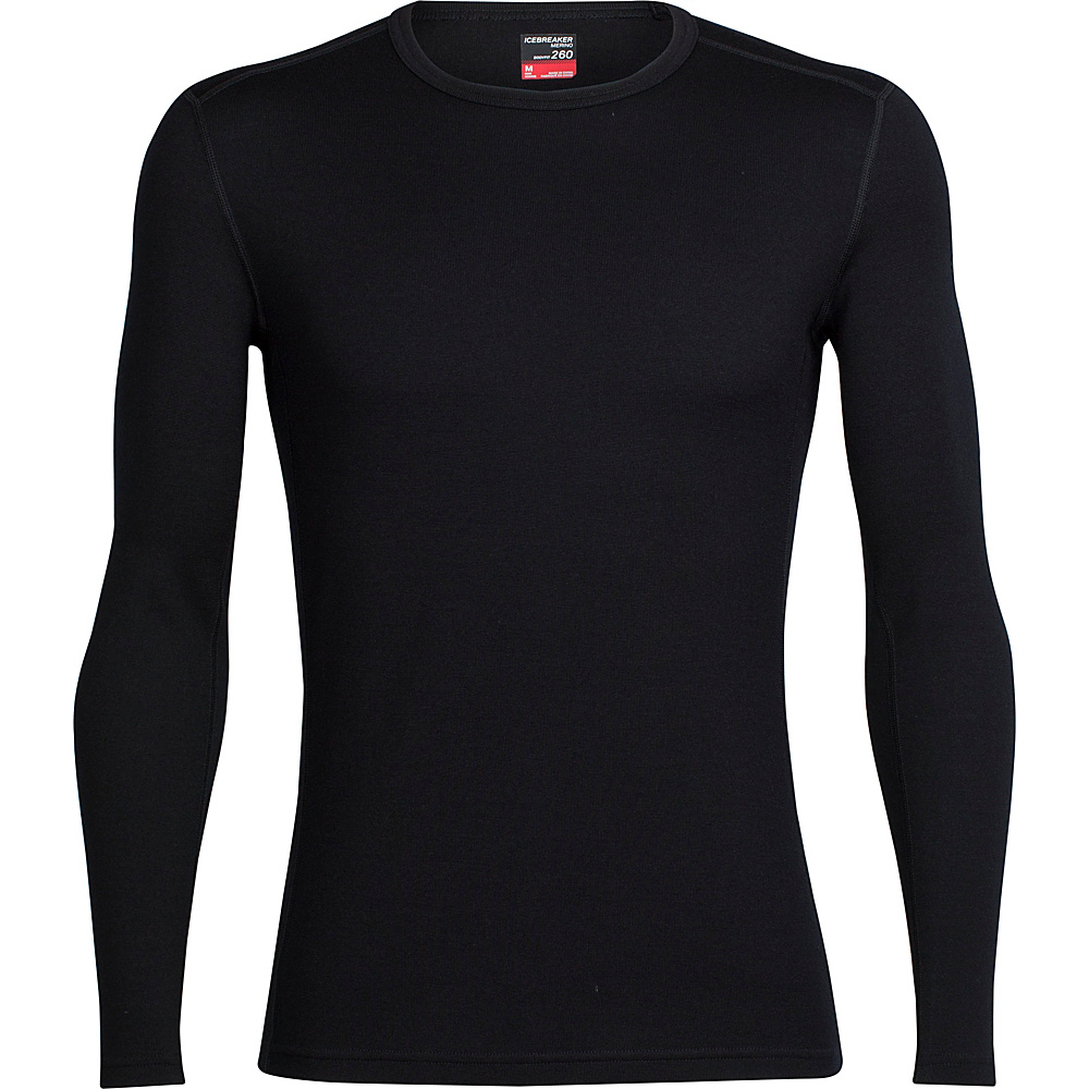 Icebreaker Mens Tech Top Long Sleeve Crewe L - Black/Black - Icebreaker Mens Apparel - Apparel & Footwear, Men's Apparel