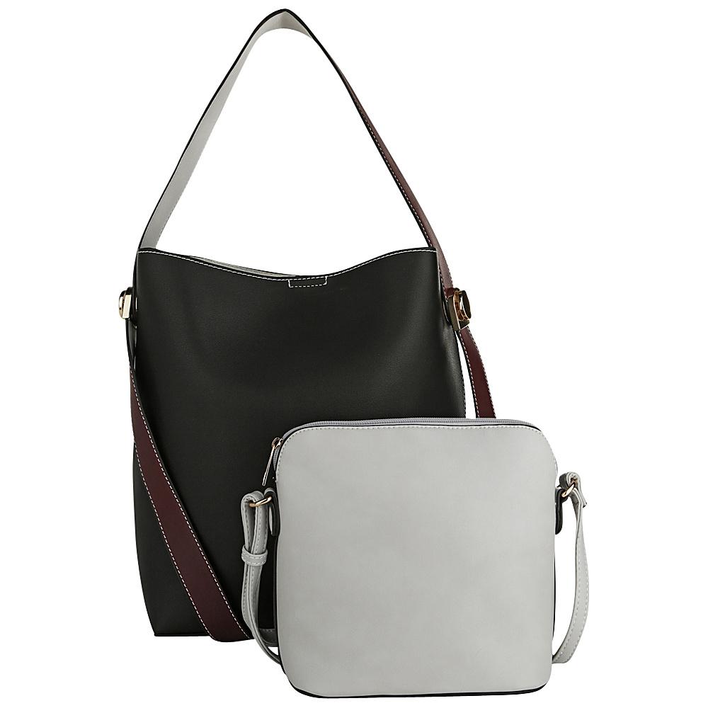 MKF Collection by Mia K. Farrow Berkeley Double Side Bucket Satchel Black - MKF Collection by Mia K. Farrow Manmade Handbags - Handbags, Manmade Handbags