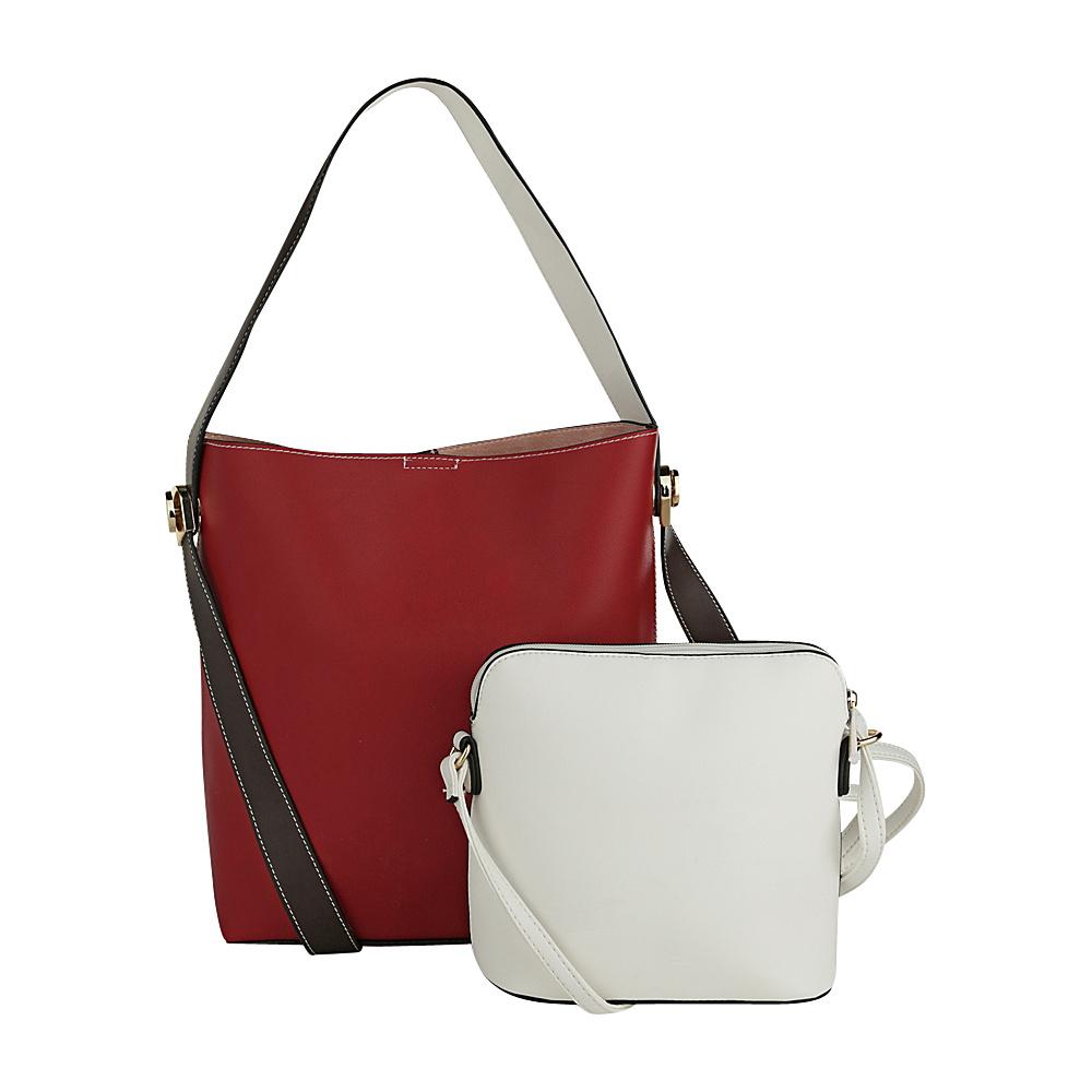 MKF Collection by Mia K. Farrow Berkeley Double Side Bucket Satchel Red - MKF Collection by Mia K. Farrow Manmade Handbags - Handbags, Manmade Handbags