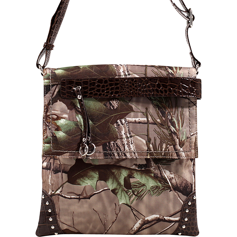 Dasein Tassel and Stud Accent Realtree Camouflage Messenger Bag APG Camouflage/Coffee - Dasein Manmade Handbags - Handbags, Manmade Handbags