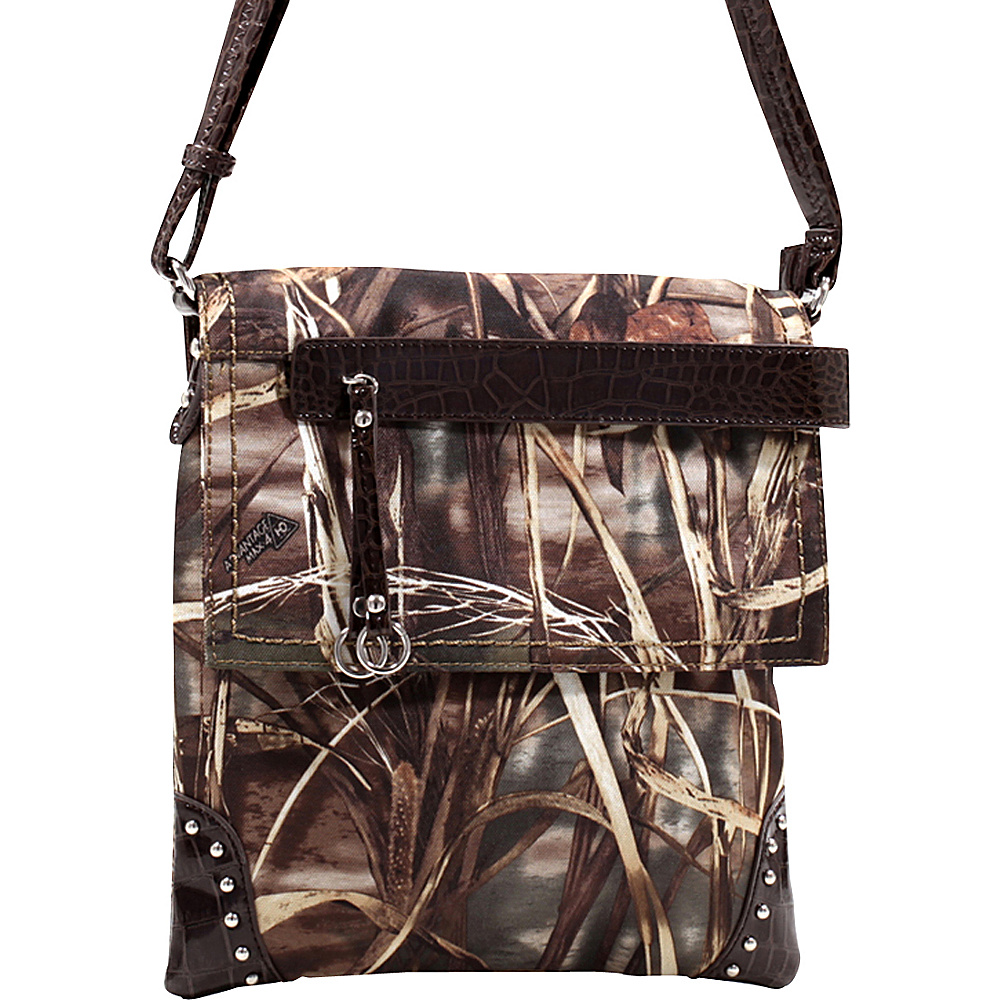 Dasein Tassel and Stud Accent Realtree Camouflage Messenger Bag Max4 Camouflage/Coffee - Dasein Manmade Handbags - Handbags, Manmade Handbags