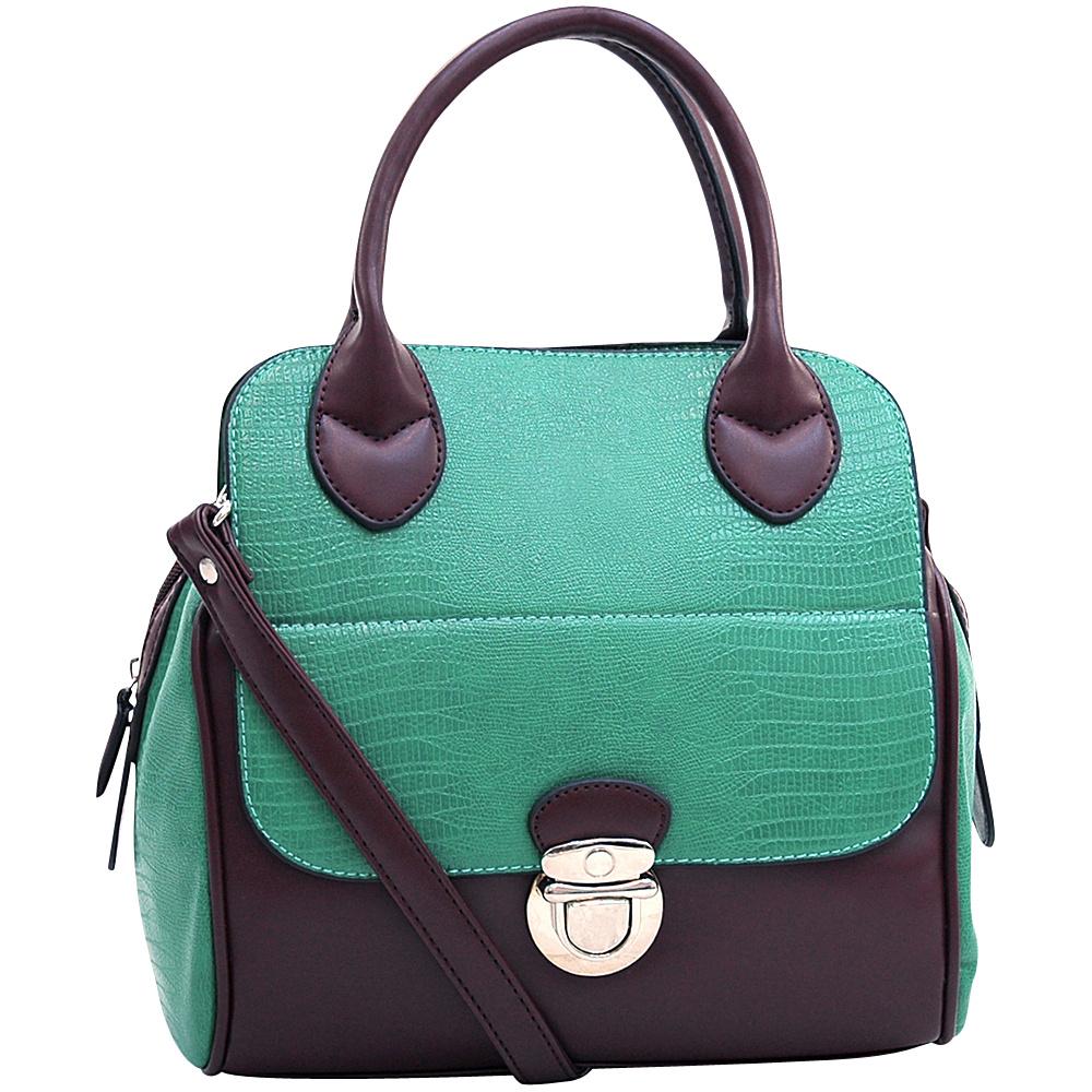 Dasein Matte Croco Texture Satchel with Buckle Accent Mint Green - Dasein Manmade Handbags - Handbags, Manmade Handbags