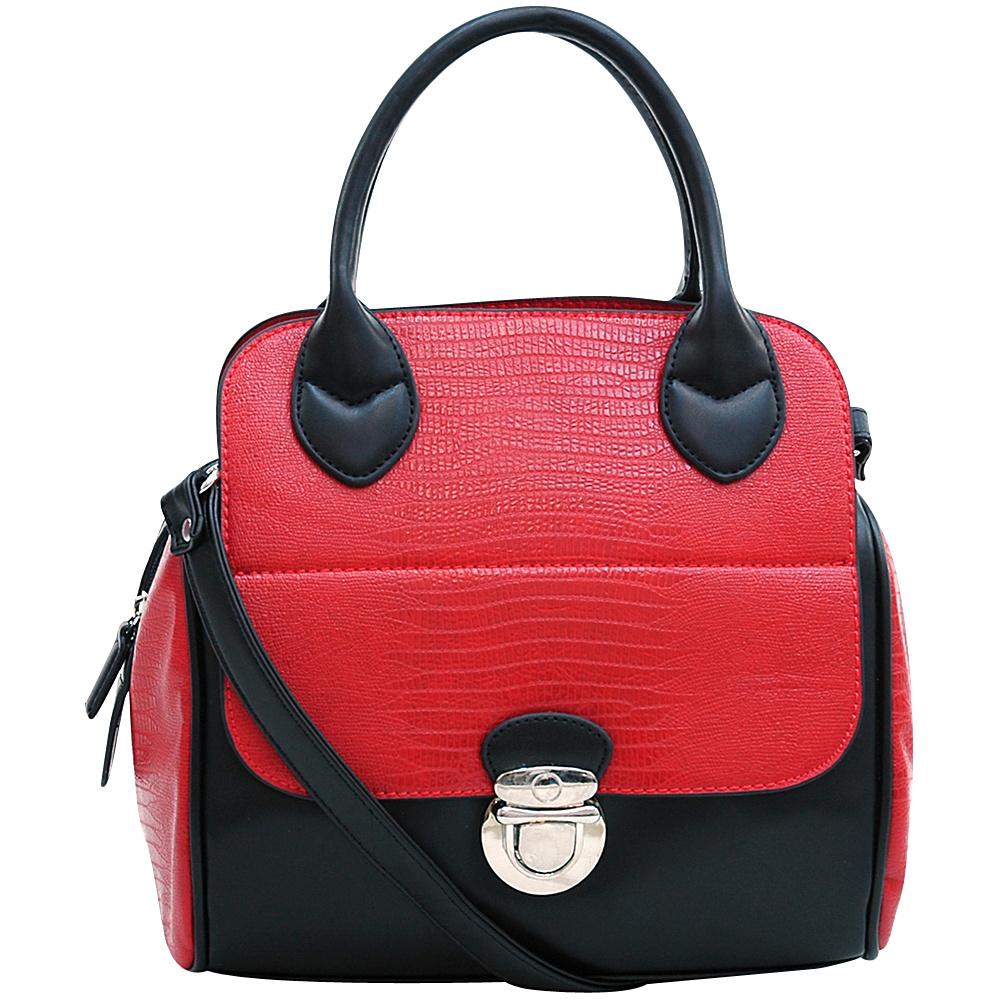 Dasein Matte Croco Texture Satchel with Buckle Accent Red - Dasein Manmade Handbags - Handbags, Manmade Handbags