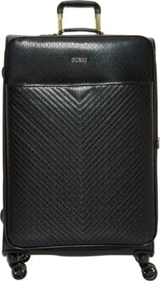 GUESS Travel Halley 28 inch Expandable Spinner Checked Luggage Black - GUESS Travel Softside Checked
