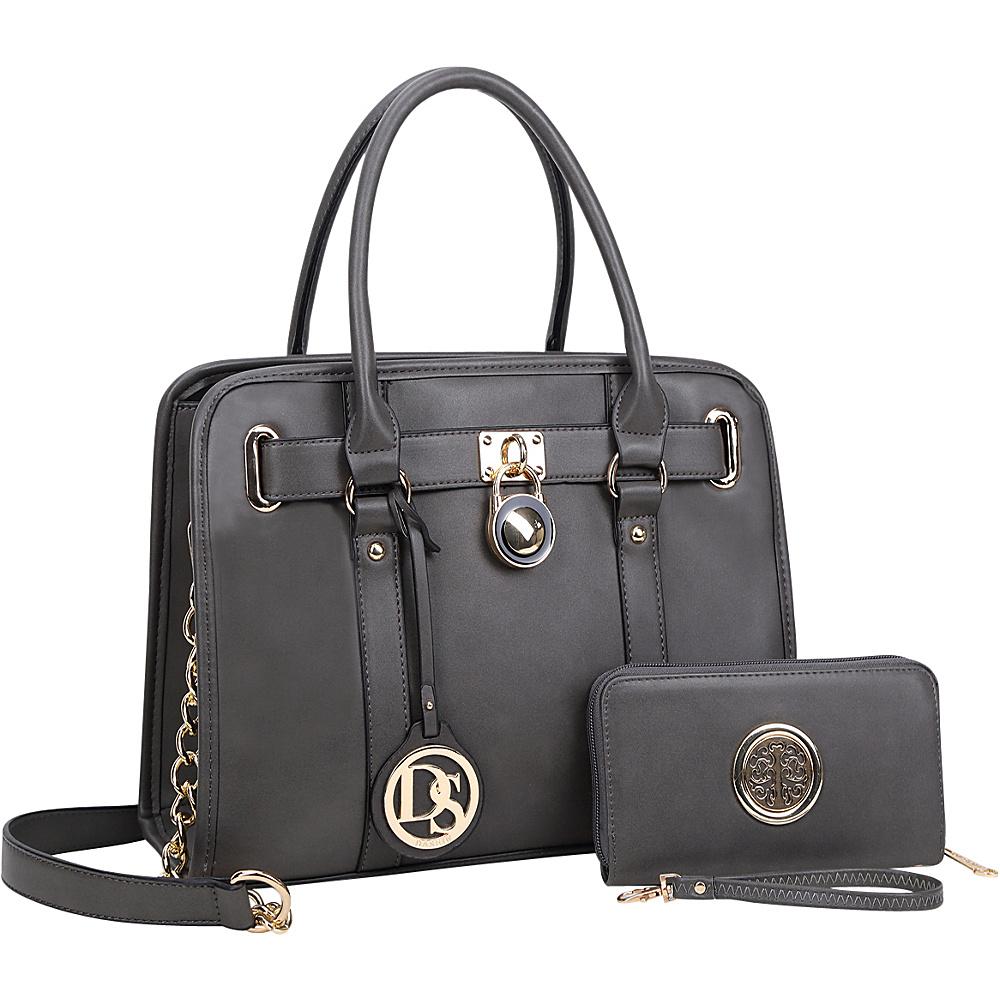 Dasein Medium Satchel with Matching Wallet Dark Grey - Dasein Manmade Handbags - Handbags, Manmade Handbags