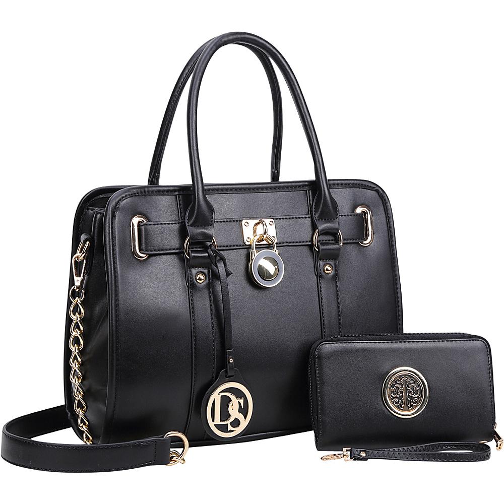 Dasein Medium Satchel with Matching Wallet Black - Dasein Manmade Handbags - Handbags, Manmade Handbags
