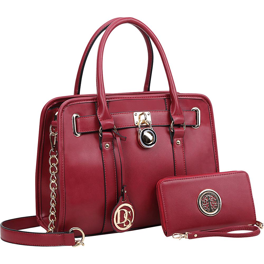 Dasein Medium Satchel with Matching Wallet Burgundy - Dasein Manmade Handbags - Handbags, Manmade Handbags