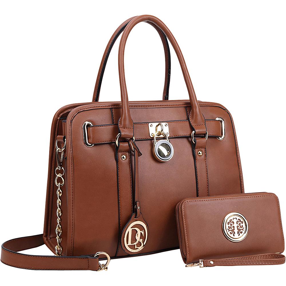 Dasein Medium Satchel with Matching Wallet Brown - Dasein Manmade Handbags - Handbags, Manmade Handbags