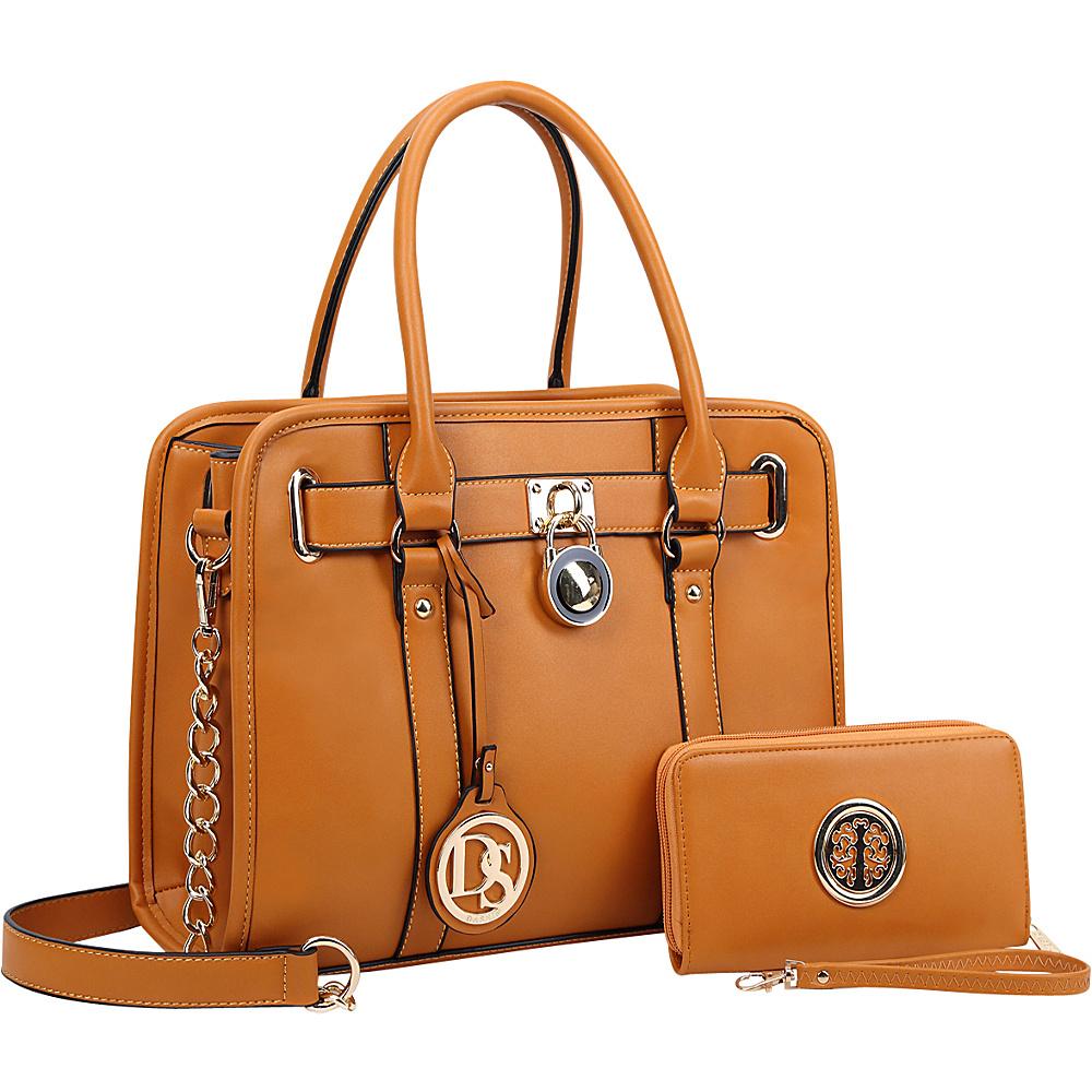 Dasein Medium Satchel with Matching Wallet Tan - Dasein Manmade Handbags - Handbags, Manmade Handbags