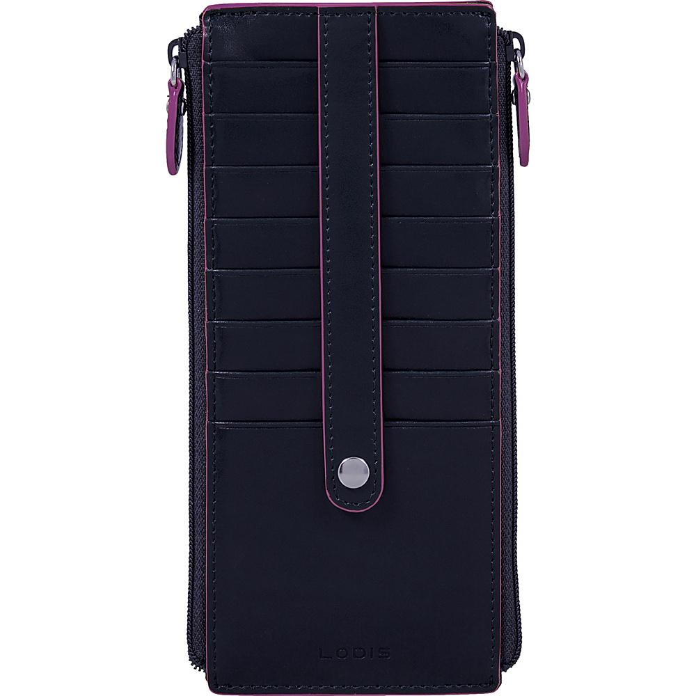 Lodis Audrey RFID Joan Double Zip Card Case Navy/Orchid - Lodis Womens Wallets - Women's SLG, Women's Wallets