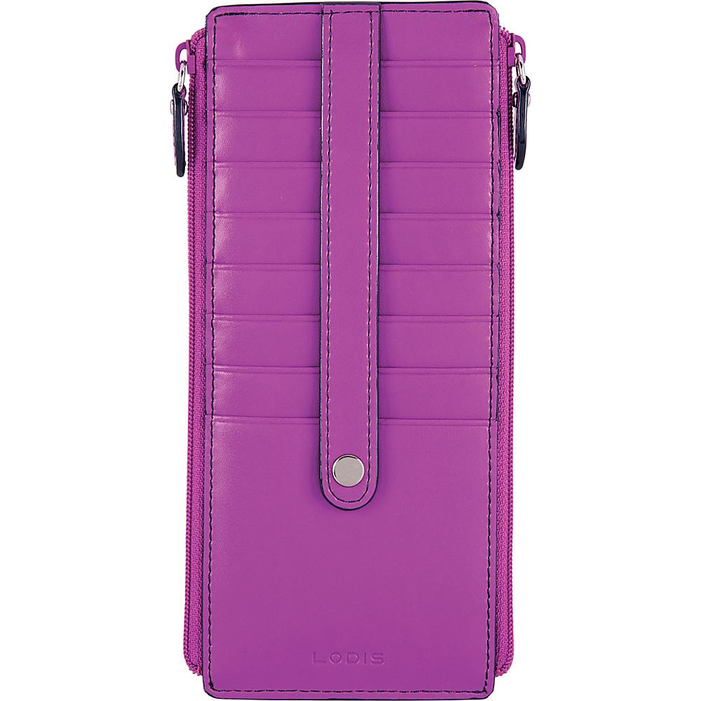 Lodis Audrey RFID Joan Double Zip Card Case Orchid/Navy - Lodis Womens Wallets - Women's SLG, Women's Wallets