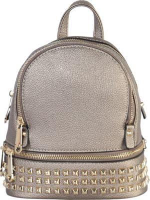 Rimen & Co Golden Studded & Zipper Decor Mini Chic Backpack Pewter - Rimen & Co Manmade Handbags