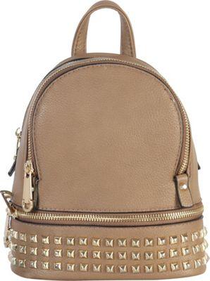 Rimen & Co Golden Studded & Zipper Decor Mini Chic Backpack Stone - Rimen & Co Manmade Handbags