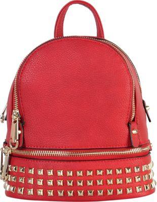 Rimen & Co Golden Studded & Zipper Decor Mini Chic Backpack Wine - Rimen & Co Manmade Handbags