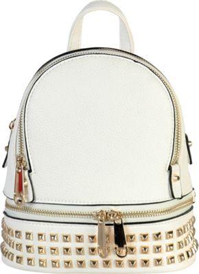 Rimen & Co Golden Studded & Zipper Decor Mini Chic Backpack White - Rimen & Co Manmade Handbags