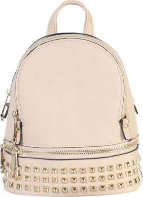 Rimen & Co Golden Studded & Zipper Decor Mini Chic Backpack Apricot - Rimen & Co Manmade Handbags