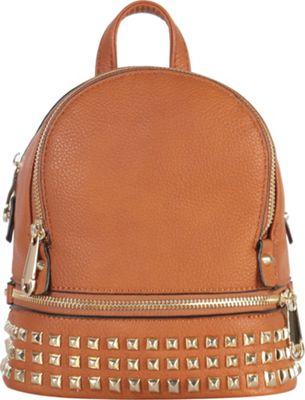 Rimen & Co Golden Studded & Zipper Decor Mini Chic Backpack Brown - Rimen & Co Manmade Handbags