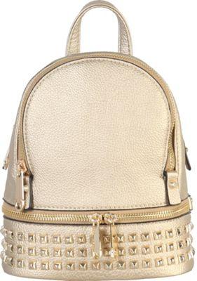 Rimen & Co Golden Studded & Zipper Decor Mini Chic Backpack Gold - Rimen & Co Manmade Handbags