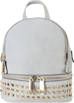 Rimen & Co Golden Studded & Zipper Decor Mini Chic Backpack Grey - Rimen & Co Manmade Handbags
