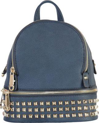 Rimen & Co Golden Studded & Zipper Decor Mini Chic Backpack Navy - Rimen & Co Manmade Handbags