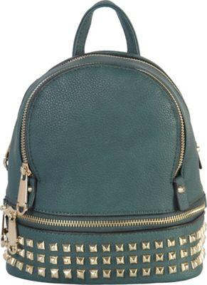 Rimen & Co Golden Studded & Zipper Decor Mini Chic Backpack Olive - Rimen & Co Manmade Handbags