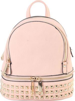Rimen & Co Golden Studded & Zipper Decor Mini Chic Backpack Pink - Rimen & Co Manmade Handbags