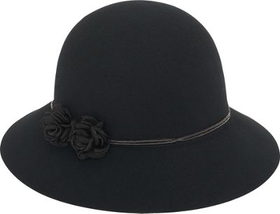 Adora Hats Floral Wool Felt Cloche One Size - Black - Adora Hats Hats/Gloves/Scarves