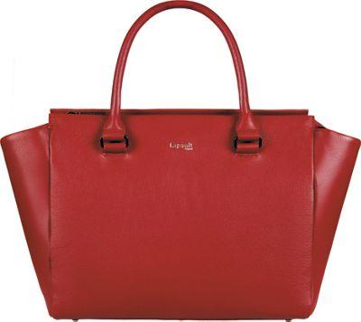 Lipault Paris Plume Elegance Medium Leather Satchel Bag Ruby - Lipault Paris Leather Handbags