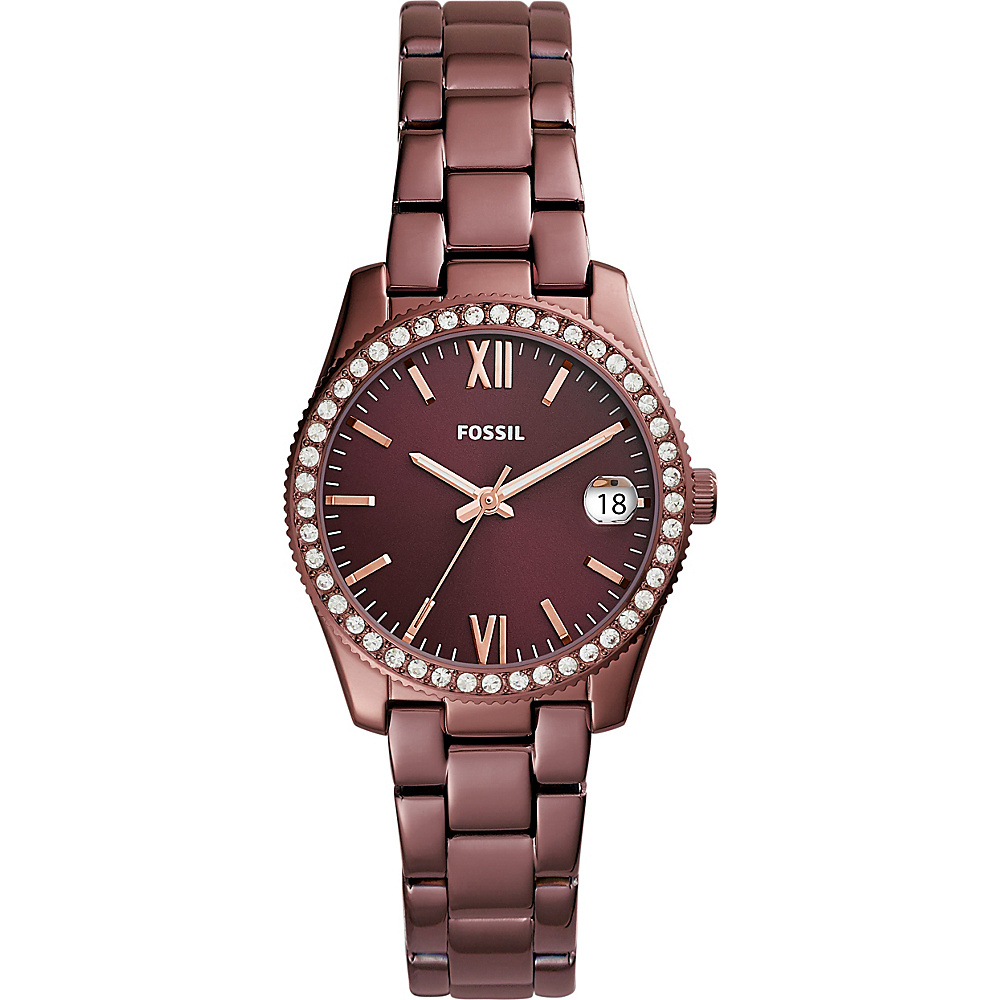 Fossil Scarlette Three-Hand Date Stainless Steel Watch Red - Fossil Watches - Fashion Accessories, Watches