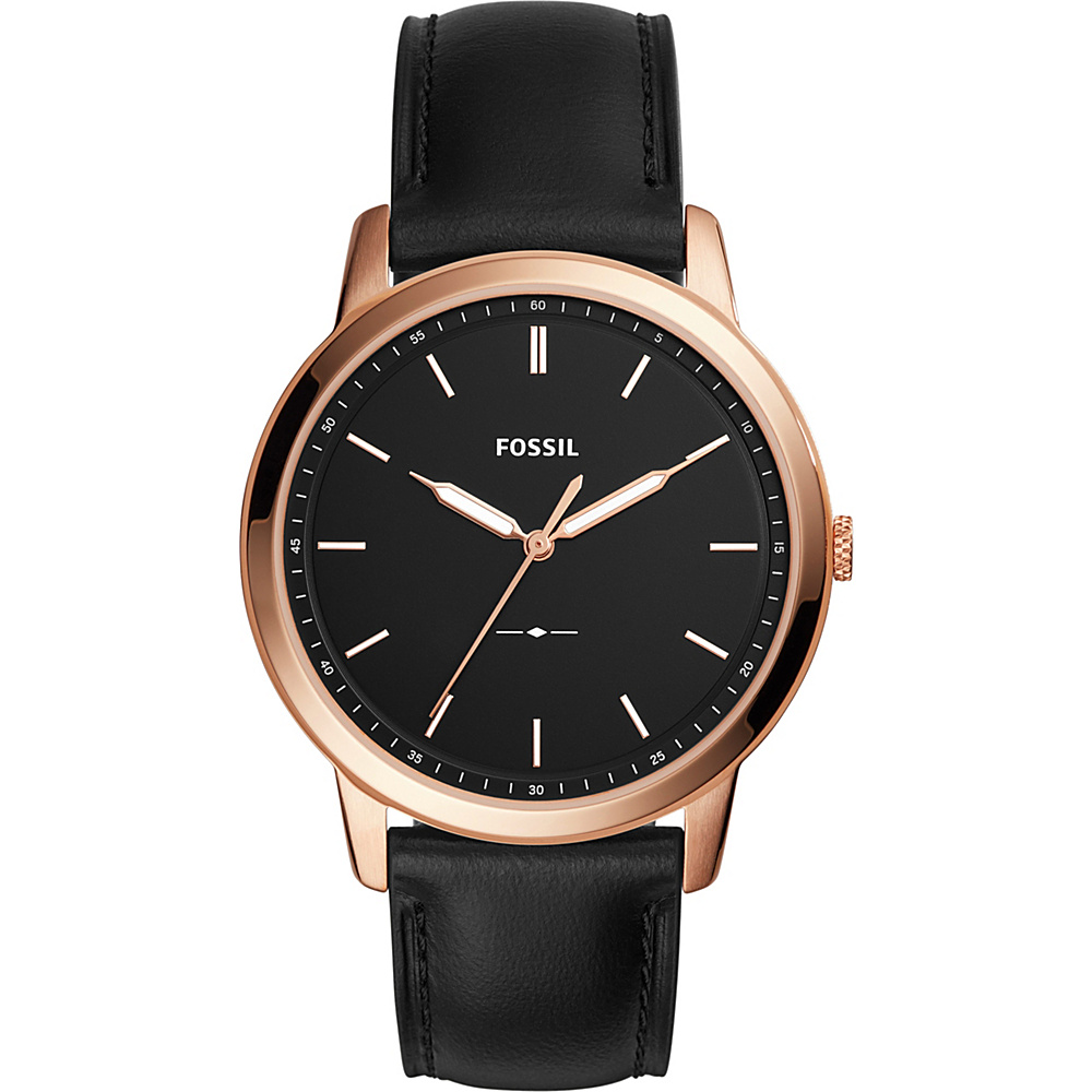 Fossil The Minimalist Slim Three-Hand Leather Watch Black - Fossil Watches - Fashion Accessories, Watches