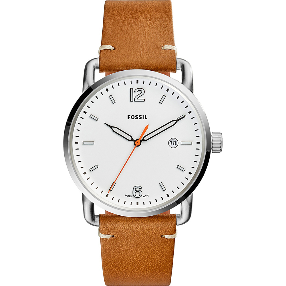 Fossil The Commuter Three-Hand Date Leather Watch Brown - Fossil Watches - Fashion Accessories, Watches